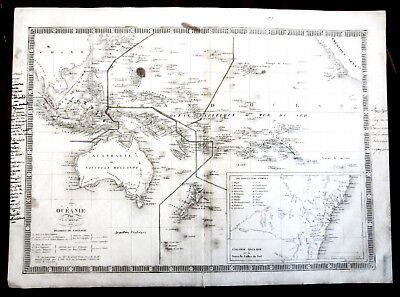 Map of Oceania Copper Engraving by C.V. Monin 1834 Australia New Zealand Pacific