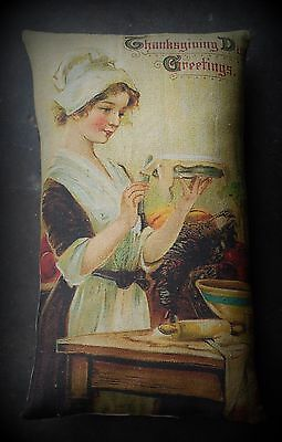 Thanksgiving Dinner Colonial pilgrim woman making pies pillow Christmas dinner