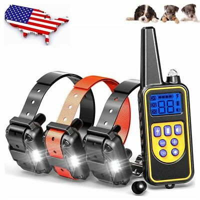 Waterproof Rechargeable Electric Remote Dog Training Shock Collar for 1/2/3 Dogs