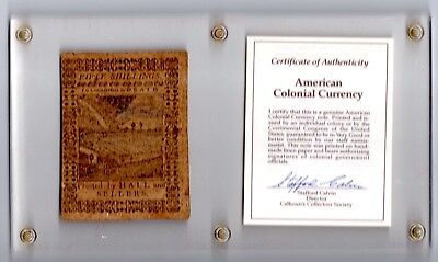 PENNSYLVANIA COLONIAL CURRENCY 50 SHILLINGS October-1-1773 AUTHENTIC