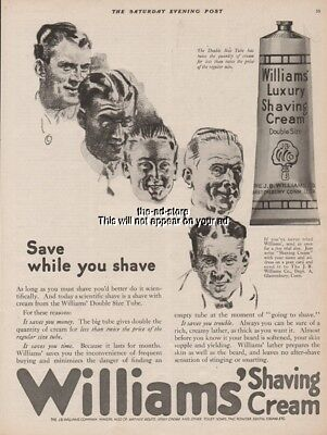 1921 Williams Shaving Cream Glastonbury CT 1920s Save While You Shave Ad