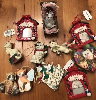 Lot of 10 Kitty Cat Christmas Ornaments Some New w/Calico Kittens Bonus Figurine