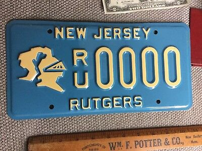Blue Rutgers University License Plate Sample New Jersey Never Issued