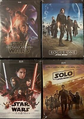 Star Wars: The Force Awakens / Rogue One / Last Jedi / SOLO 4-DVD FREE Shipping
