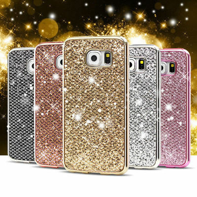 Luxury Glitter Bling Diamond Soft TPU Shockproof Case Cover For iPhone Samsung