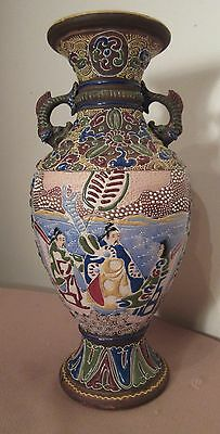 antique handmade Japanese porcelain moriage satsuma ornate enamel pottery vase