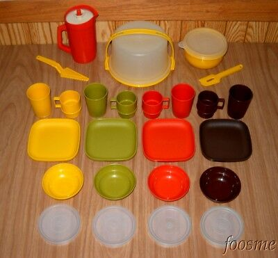 TUPPERWARE Toys Kids Kitchen Play Food Dishes Classic Harvest 29 Pc Set Lot