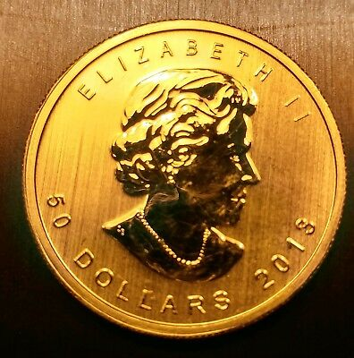 1 oz Gold Canadian Maple Leaf Coin .9999 fine $50- Mint, Uncirculated NR