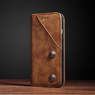 Luxury Retro Leather Magnetic Flip Wallet Stand Case Cover For iPhone Samsung S8