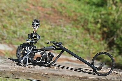 Hand Made Motorcycle Chopper Sculpture Art Recycled Bike Parts One of a Kind