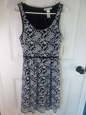 Euc Aqua By Bloomingdales Whiteblack Striped Dress With Lace