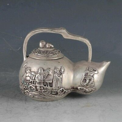 Exquisite Tibetan Silver Journey To The West Teapot&Gourd Lid BT0126