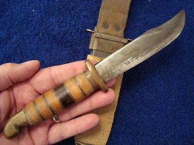 Wwii Theater Made Combat Fighting Knife In U.s.n. Mk. 2 Scabbard - Usmc Us Navy