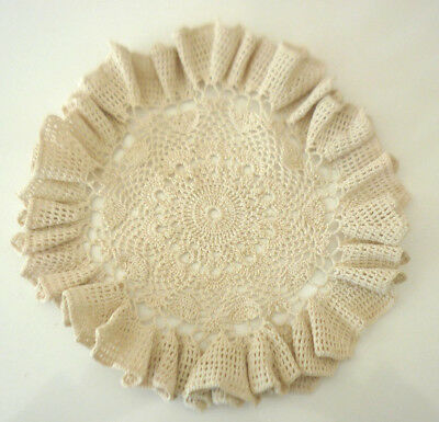 Beautifully Crocheted Doily Beige Colour   Size 8 1/2 Ins / 22 Cm Diam.