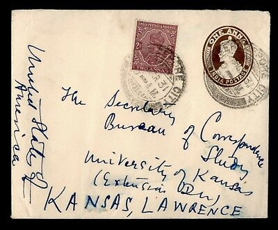DR WHO 1931 INDIA FEROZEPORE CITY UPRATED STATIONERY TO USA  d70086