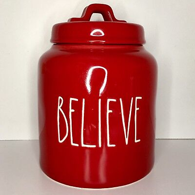 NEW Rae Dunn Christmas Red LL Large Letter BELIEVE Chubby Cookies Canister