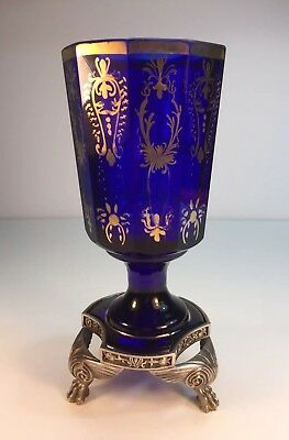 1780 Royal Blue Crytal Silver Holy Grail Cup ( Rare Item )