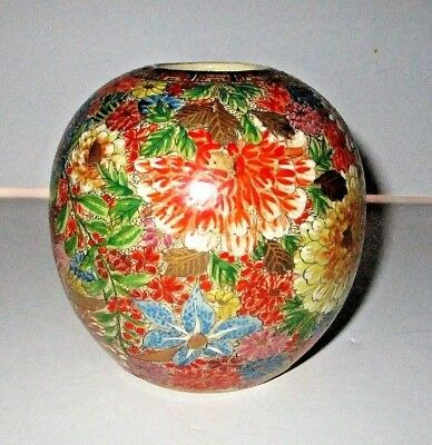 Antique Japanese Satsuma Thousand Flowers Vase Signed Porcelain Mille Fleur