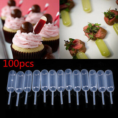 100 Pcs Plastic Squeeze 4ml Transfer Pipettes Dropper For Cup Cakes Ice Cream