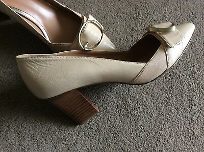 43b4acfdf586 NINE WEST nude beige leather courts mid heel UK Size 5 WORN ONCE Narrow  Fitting