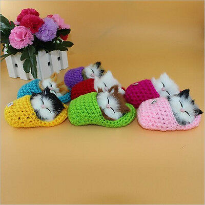 Cute Plush Sleeping Cats Doll Simulation Sound Kittens Shoe Toys Gift NT