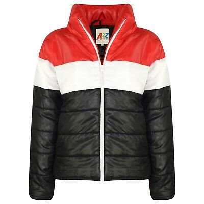 Kids Girls Jacket Red Designer's Contrast Panel Padded Quilted Warm Coat 5-13 Yr