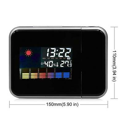 Projection Digital Weather LCD Snooze Alarm Clock Color Display LED Backlight e