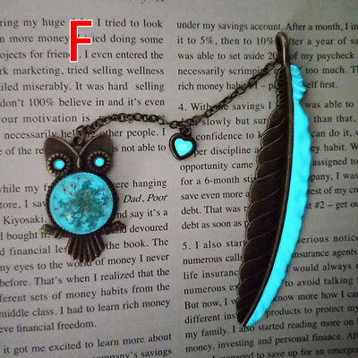 1X Luminous Night Owl Bookmark Label Read Maker Feather Book Mark Stationery F R