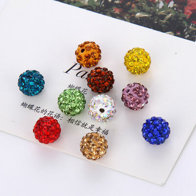 8/10mm 20Pcs Round Shamballa Crystal Pave Clay Disco Ball Beads
