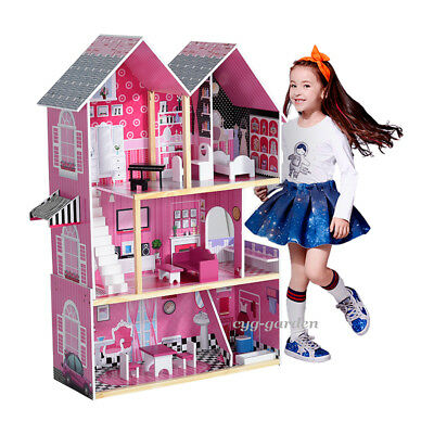 3 Floors Wooden Kids Doll House With Furniture & Staircase Fits Toy Playhouse UK