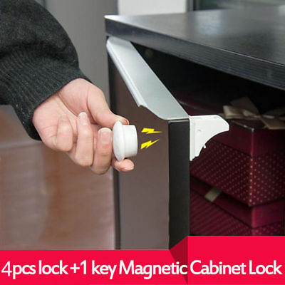 Magnetic Safety Invisible Cupboard Lock Baby Child Pet Proof Drawer Security NEW