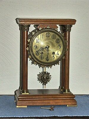 Warmink/Wuba Walnut PILLAR Bracket Clock 8 days Pendulum Movement,2 bell chimes.