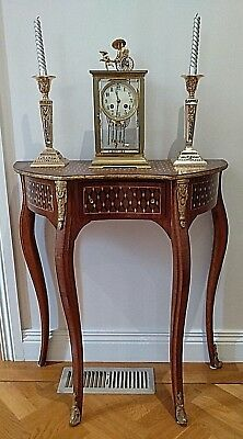 Antique / Vintage French Louis Style  Half Table Inlaid Ornate Bronze