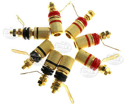 8Pcs Gold Plated Speaker Binding Cable Wire Screw Metal Banana Plug Connector