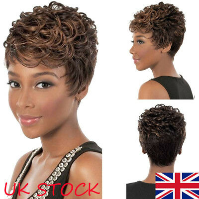 UK Women Afro Ombre Black Brown Short Wavy Curly Synthetic Hair Wigs + Wig Cap