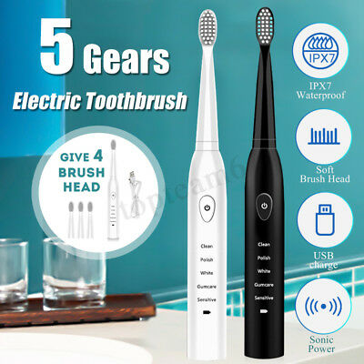 Electric Toothbrush Clean USB Rechargeable 5 Modes Sonic Smart Timer + 4 Head
