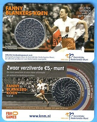 """5 Euro NL 2018, """"Fanny Blankers"""" in Coincard!"""
