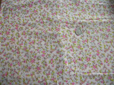 Vtg Flannel Fabric Material Pink Roses Floral Green Leaves 1 3/4 Yds By 45 In W