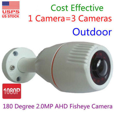 HD 1080P AHD CVI TVI CCTV Security Camera Outdoor 180 Degree Wide Angle Fish eye