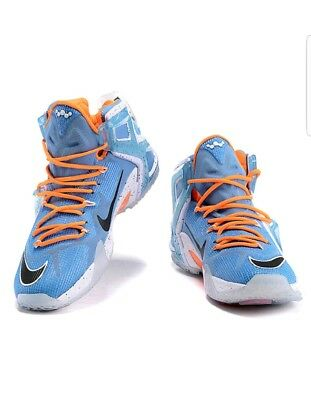 37780fe96cb Nike Lebron XII 12 Elite University Blue Black White Orange 724559 488 US  10.5