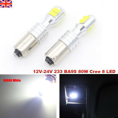 BA9S 80W 8 Cree LED Car ERROR FREE CANBUS 233 T4W CAR SIDE LIGHT Interior BULBS