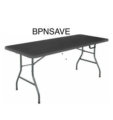 6' Portable Centerfold Folding Black Table Indoor Outdoor Camp Party Plastic
