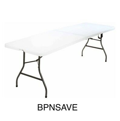 8' Portable Centerfold Plastic White Folding Table Indoor Outdoor Party Picnic!!