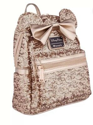 NEW - Disney Parks Minnie Mouse Rose Gold Bow Sequin Backpack by Loungefly