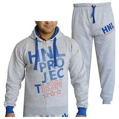 Kids Boys Grey & Blue Designer Tracksuit HNL Hooded Bottoms Joging Suit 7-13 Yrs