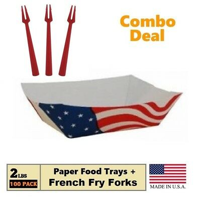 USA Flag Paper Food Trays (2 LB) Take Out Boats 100 Trays + 50 French Fry Forks