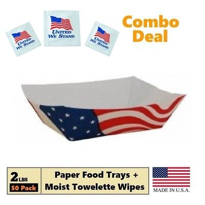 USA Flag Paper Food Trays, (2 LB) Take Out Food Boat Basket, 50 Trays + 25 Wipes