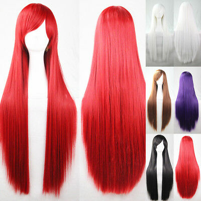 Synthetic None-lacewigs Hair Extensions & Wigs Miss U Hair Girl Synthetic 85cm Long Straight Dark Purple Colorhalloween Hair Cosplay Costume Full Wig Punctual Timing