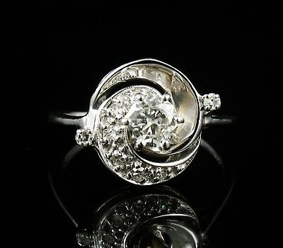 ART DECO VINTAGE ROUND NATURAL 3/4ctw DIAMOND SOLID 14K WHITE GOLD SWIRL RING