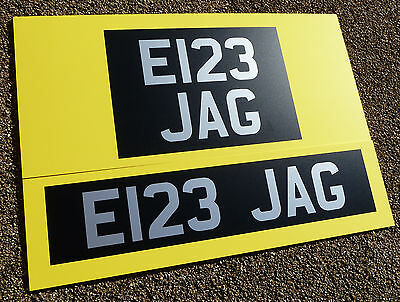 Classic Vintage style Silver/white on Satin black Number Plate Stickers UK